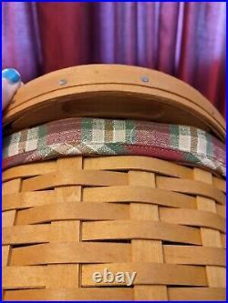 Longaberger Small Workload Basket Set with liner, protector, and lid EUC