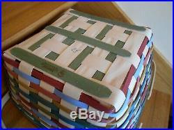 Longaberger Sunnyside Square Picnic Basket Set colorful gift shipping included