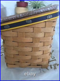 Longaberger TV TIME Team Spirit MICHIGAN WOLVERINE FOOTBALL Basket Set BRAND NEW