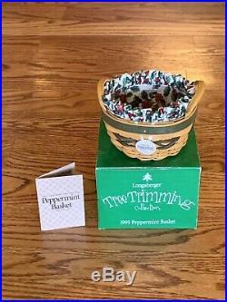 Longaberger Tree Trimming, Set of 5, 2 Let If Snow, 2 Peppermint & Treats Basket