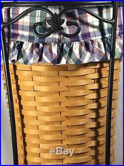 Longaberger Umbrella Basket Liner Protector Wrought Iron Stand Set FREE SHIPPING