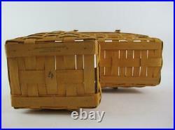 Longaberger Vintage ODDS and ENDS Stair Step Basket & Protector RARE Combo Set
