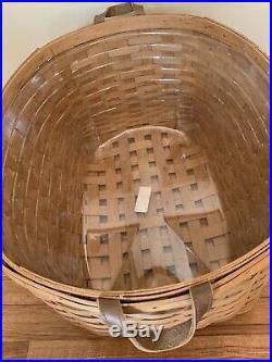 Longaberger Warm Brown BLANKET Basket Leather Handles Protector Set 2009 Retired