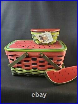 Longaberger Watermelon Basket Set With Lids