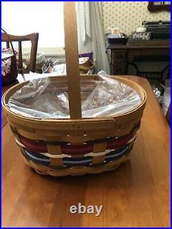 Longaberger Welcome Home Patriotic Oval Spring Basket Set New