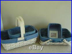 Longaberger White Washed Natural Basket Set (Lot of 4) 2002-2005
