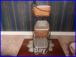 Longaberger Wrought Iron Bread Basket Rack + 3 Bread Basket Sets WB, RB, DB