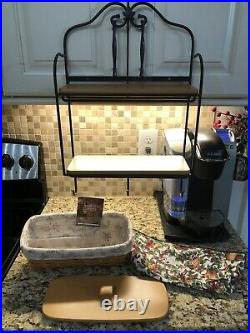 Longaberger Wrought Iron Envelope Rack 2 shelves & Complete Lidded Basket Set