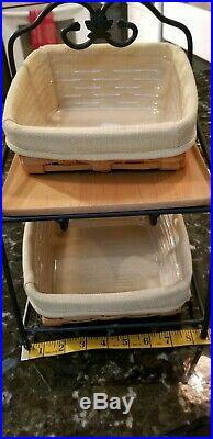 Longaberger Wrought Iron Little Bin Basket Set Tan Fabric Liners Protectors