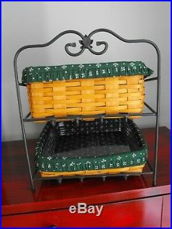 Longaberger Wrought Iron Paper Tray Rack Liners Baskets Protectors Set