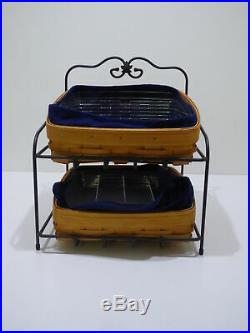Longaberger Wrought Iron Paper Tray Stand 2 Paper Tray Baskets Combo Desk Set