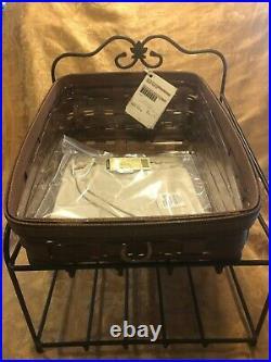 Longaberger Wrought Iron Paper Tray Stand & Basket Set Rich Brown Basket EUC