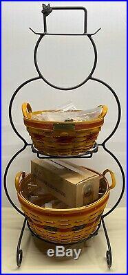 Longaberger Wrought Iron Snowman Hostess Pinecone Popcorn Baskets Complete Set