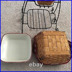 Longaberger Wrought Iron Stand, SILVER BELLS Tinsel Basket & Bowls Complete Set