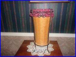 Longaberger Wrought Iron Umbrella Stand +1999 Umbrella Basket Set Trad Red