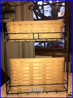 Longaberger Wrought Iron Wall File Shelf Sort & Store Tall File Basket Set