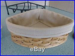 Longaberger Wrought Iron small Corner stand with basket set & wood crafts shelf