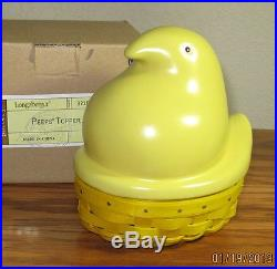 Longaberger YELLOW PEEPS SUPER Set EASTER Pottery Topper, Basket & Protector