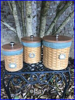 Longaberger basket 3 piece canister set With Protective Containers- Very Good