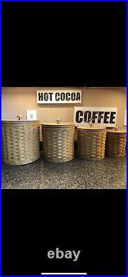 Longaberger baskets 4 piece canister set W Sealed Protectors F-55