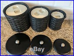 Longaberger black canister set Rare, hard to find