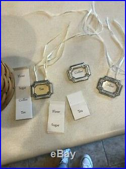 Longaberger canister basket set with acrylic protectors, lids and tags. MINT