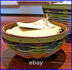 NEW withtags 2010 Set/3 Longaberger Summertime Stripe Buffet Baskets withlidded PPs