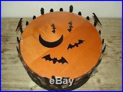 NWT Longaberger Halloween Trick or Treat Basket Set Wrought Iron Holder Bat Moon