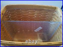 New 2003 LONGABERGER NEWSPAPER basket divided protector set CLASSIC stain USA
