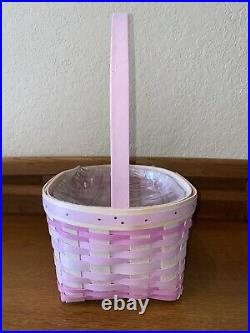 New 2021 Longaberger Large Pink Easter Basket Set With Protector