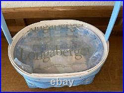 New 2021 Longaberger Large Robin's Egg Blue Easter Basket Set With Protector