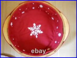 New Longaberger 2010 Christmas Collection Red Falling Snow Basket Set withLid