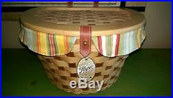New Longaberger Hostess Only Bicycle Basket Full Set, Stand, Summer Stripe Liner