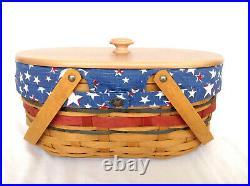 OVAL MARKET Basket set With LID Patriotic American Celebration Longaberger READ