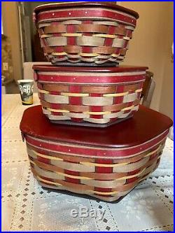 RARE Longaberger Set of 3 Stacking Baskets With Wood Lids Red woven star bottom