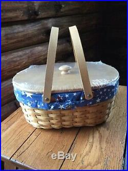 Rare Mint Condition Longaberger Oval Market Basket Set- Brand New