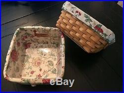 SET(2) LONGABERGER SMALL STORAGE SOLUTIONS Baskets HEIRLOOM FLORAL Liner/prot