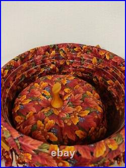 SET OF 4 Longaberger Fall Pumpkin Basket WITH Fabric Fall Liner & Plastic Insert
