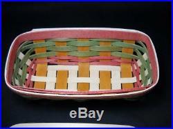 Scarce Longaberger 2014 Mother's Day Basket, Lid and Liner Set Green & Rose