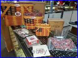 Set Of 3 Longaberger Collectors Club Flag Baskets Liners Protectors Tie & Garter