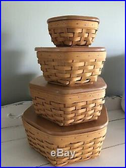 Set Of 4 Longaberger Generations 6, 8, 10, 12 Baskets with Lids & Protectors EUC