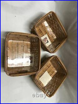 Set of 3 Longaberger 2004 Small Storage Solutions Baskets withPlastic Protectors