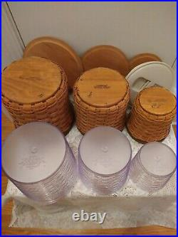 Set of 3 Longaberger Basket Canisters 2006 With Lids and Resealable Containers