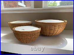 Set of 3 longaberger bowl basket w hard plastic protector, snap lids and liners