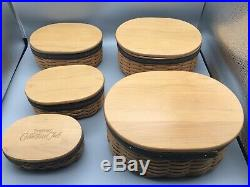 Set of 5 Longaberger Collectors Club Harmony Stacking Baskets Lids + COAs