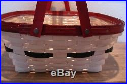 VERY RARE Longaberger Snowman Belly Host Homemade Treats Basket Set Protector